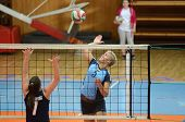 KAPOSVAR, HUNGARY - MARCH 16: Zsofia Horvath (R) in action at the Hungarian Championship volleyball