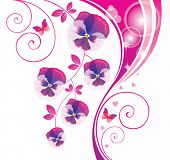 Abstract background with pink viola and butterfly.