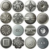 Metal sewing buttons collection, isolated
