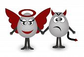 Two amusing eggs angel and demon