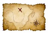 Pirates map with marked treasure location by cross