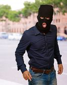 man with a face mask, outdoor