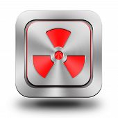 Radioactive Aluminum Glossy Icon, Button, Sign