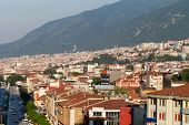 Mosque and many houses in Bursa Turkey