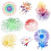 fireworks on white background
