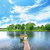pic of dock a pond  - Wooden dock - JPG