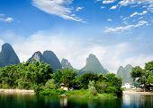 Beautiful Yu Long River Karst Mountain Landscape