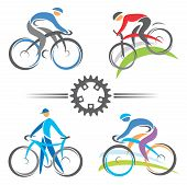 stock photo of bike path  - Colorful cycling and mountain biking icons  Vector illustrations - JPG