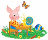 Piglet, Snail And Butterfly
