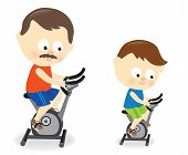 Father and son riding exercise bike