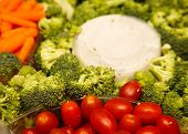 stock photo of crudites  - A tray of fresh vegetables with dip - JPG