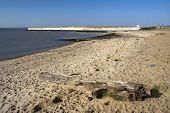 Beach And Sea Wall On Canvey Island, Essex, England