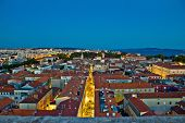 Zadar rooftops night aerial view