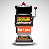 picture of coin slot  - Abstract colorful illustration with coins coming out from a casino slot machine isolated on a white background - JPG