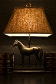 Night stand lamp with horse ornament and boocks on wooden desck