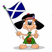 stock photo of kilts  - A cartoon dog in a kilt with the flag of Scotland - JPG