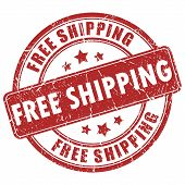 picture of shipping receiving  - Vector free shipping red stamp isolated on white background - JPG