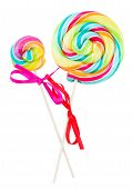 stock photo of lolli  - two spiral lolly pops isolated on white background - JPG