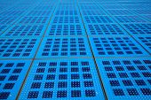 Solar Panels Background On The Promenade In Zadar, Croatia. Amphitheater