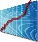 stock photo of line graph  - 3d Line chart going up - JPG