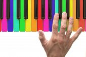Rainbow Piano Keyboard With Hand