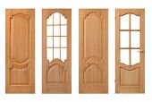 stock photo of wooden door  - set of wooden doors isolated on white - JPG