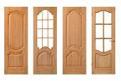 stock photo of wooden door  - set of wooden doors isolated on white - JPG