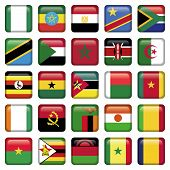 African Flags Squared Icons, world flag set of 25 pieces