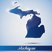 icono brillante en forma de estado de Michigan, Estados Unidos