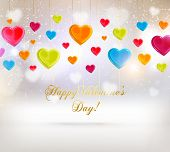 Abstract Glow Soft Hearts for Valentines Day Background Design. Colorful Hearts Set. Vector Illustra