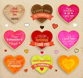 stock photo of valentines  - Happy Valentines Day Cards Set for Vintage Holiday Labels Design - JPG