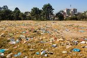 Uncontaminated landscape in Nepal. Environmental pollution.