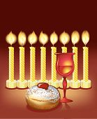 hanukkah background with candles, donuts, glass of wine