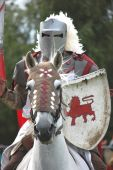 pic of jousting  - Knight gallops towards his opponent in jousting tournament - JPG