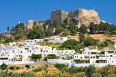 stock photo of eastern culture  - mall greek street in Lindos Rhodes Greece - JPG