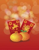 foto of mandarin orange  - 2014 Chinese New Year of the Horse Mandarin Oranges and Red Money Packets with Prosperity Text Calligraphy Bokeh Background Illustration - JPG