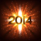 vector 2014 new year text with rays coming out