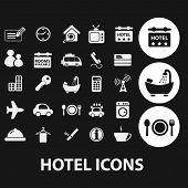 hotel, motel, travel icons set, vector