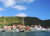Gustavia Harbor with mega yachts at St Barts, French West Indies