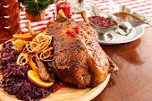 stock photo of roast duck  - roasted duck on Christmas table - JPG