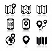 Map travel icons set