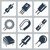 stock photo of capacitor  - Vector electronic components icons set - JPG