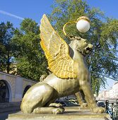 Statue Of Gryphon On Banking Bridge, St. Petersburg