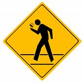 Road sign crosswalk.