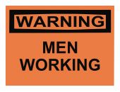 image of osha  - OSHA men working warning sign isolated on white - JPG