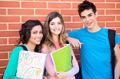 stock photo of adolescent  - Young group of students in campus  - JPG