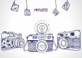 picture of monochromatic  - illustration sketch vintage retro photo camera - JPG