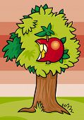 picture of nibbling  - Cartoon Illustration of Apple Tree with Nibbled Fruit - JPG