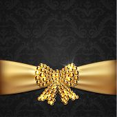 Golden ribbon with diamond bow decoration on ornate background - raster version