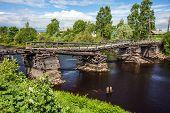 Broken bridge in Olonets town